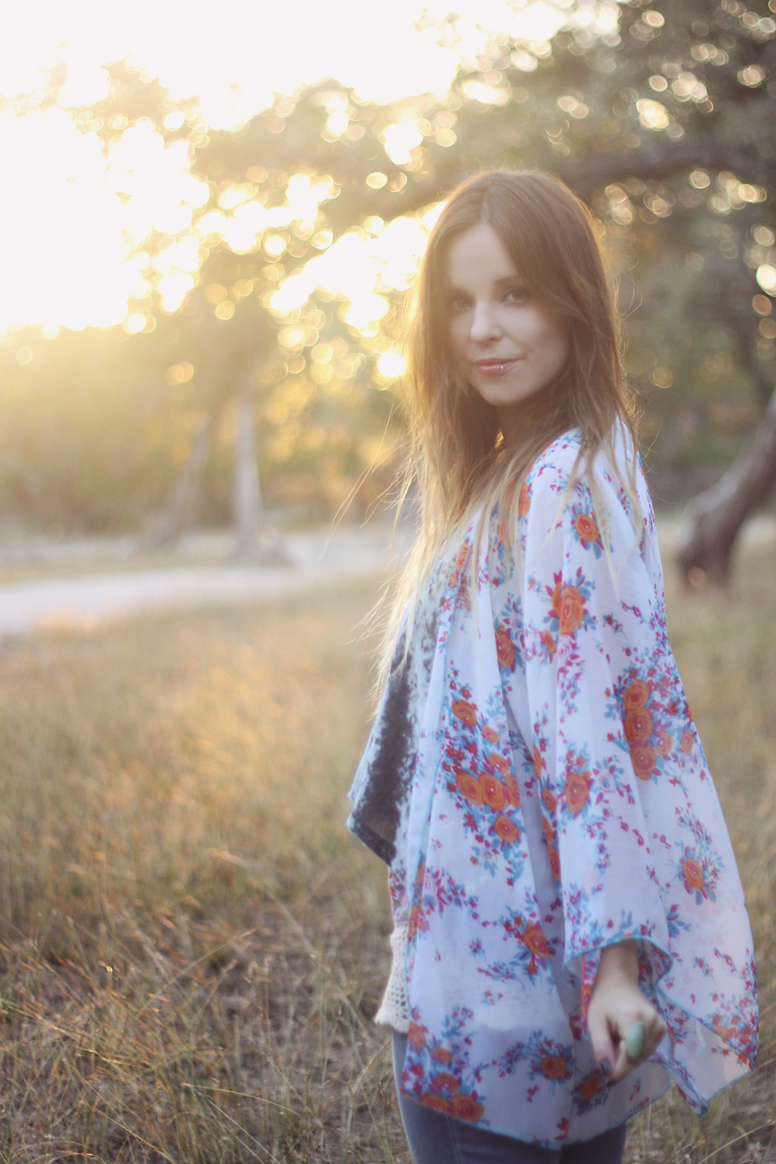 Mandarin Oranges Kimono Outfit by Roots and Feathers