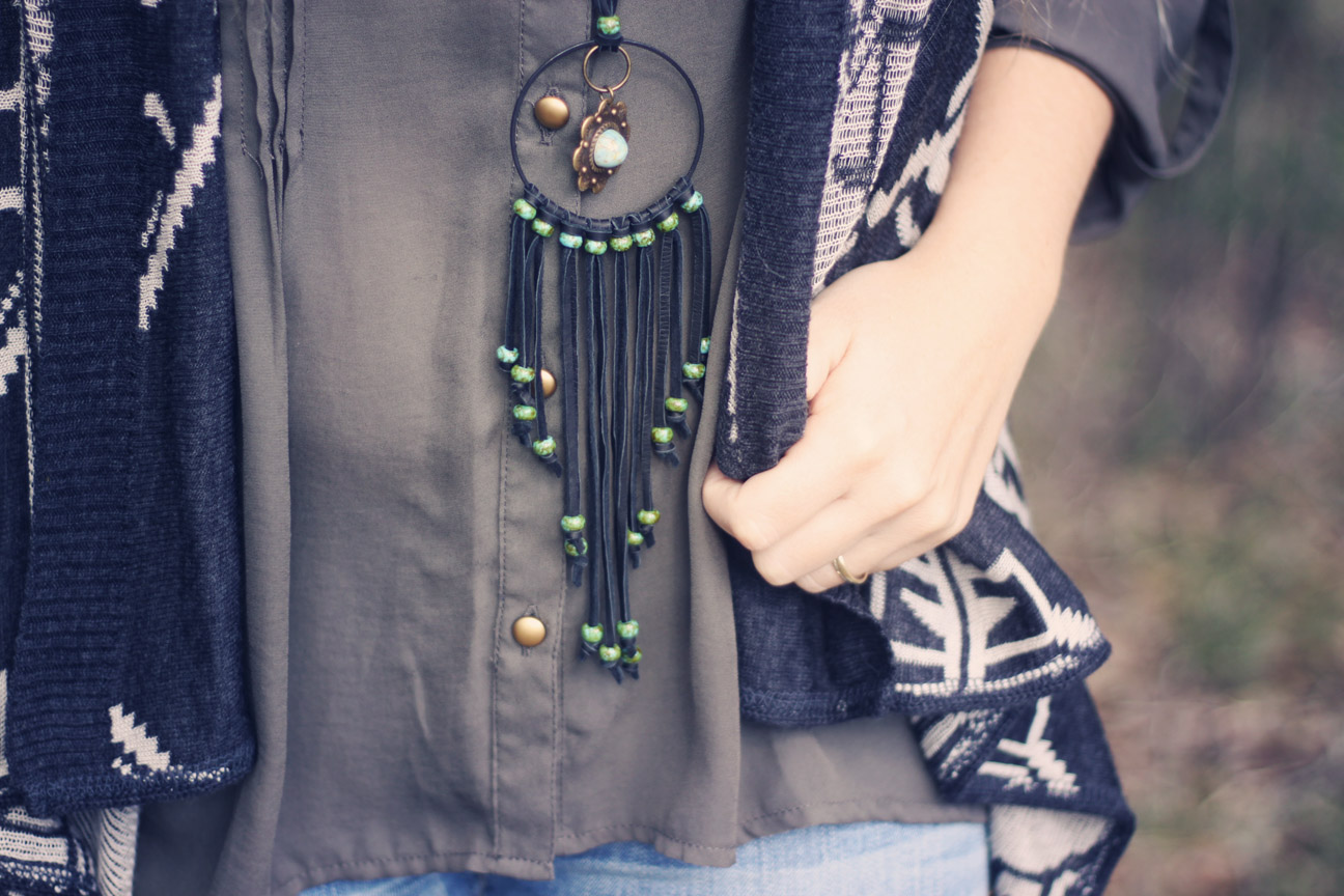 roots and feathers black leather fringe necklace