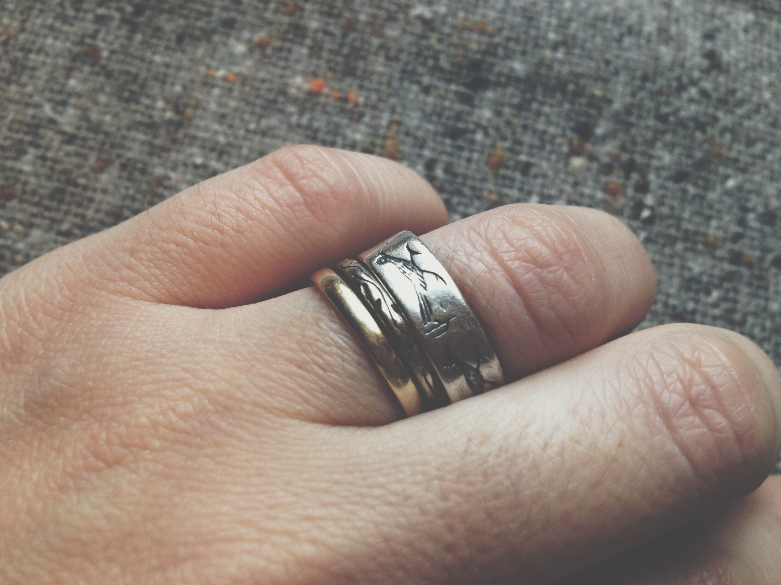 the roadrunner ring i found in my mom's old jewelry box is now a part of my wedding stack...