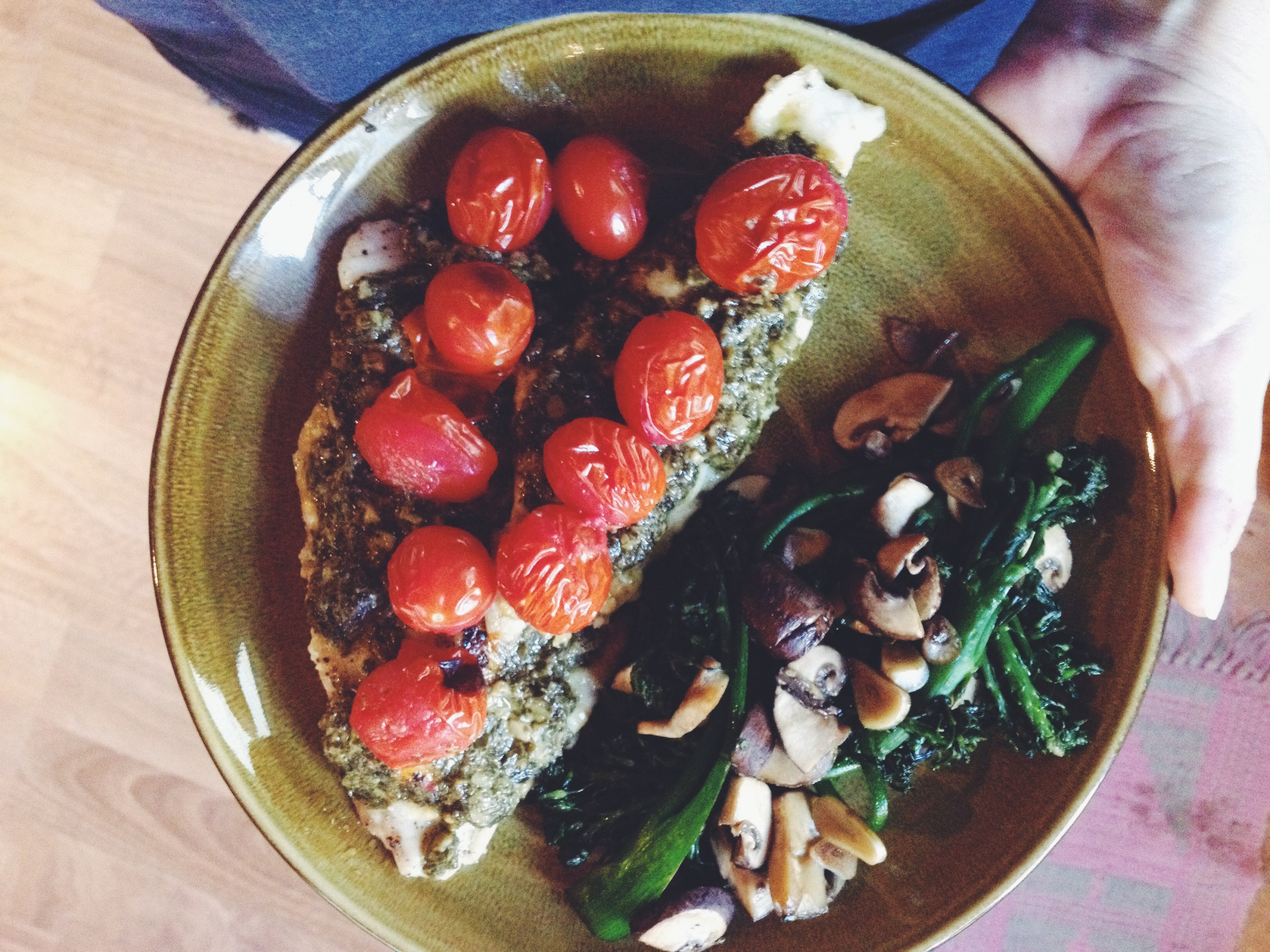 We made some tilapia with basil pesto this week!  It was oh so yummy.