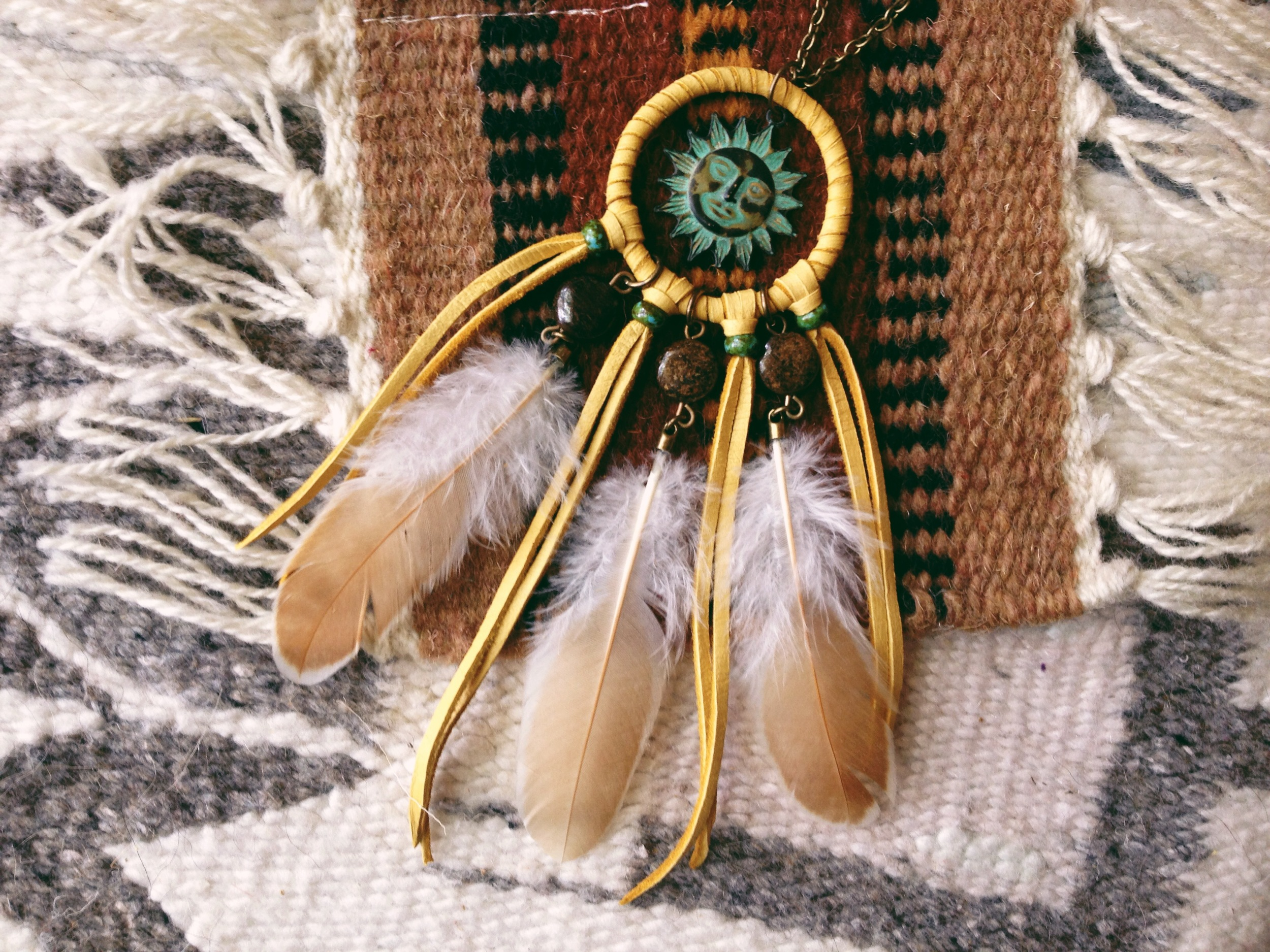 Roots and Feathers Sun Dreamcatcher Necklace