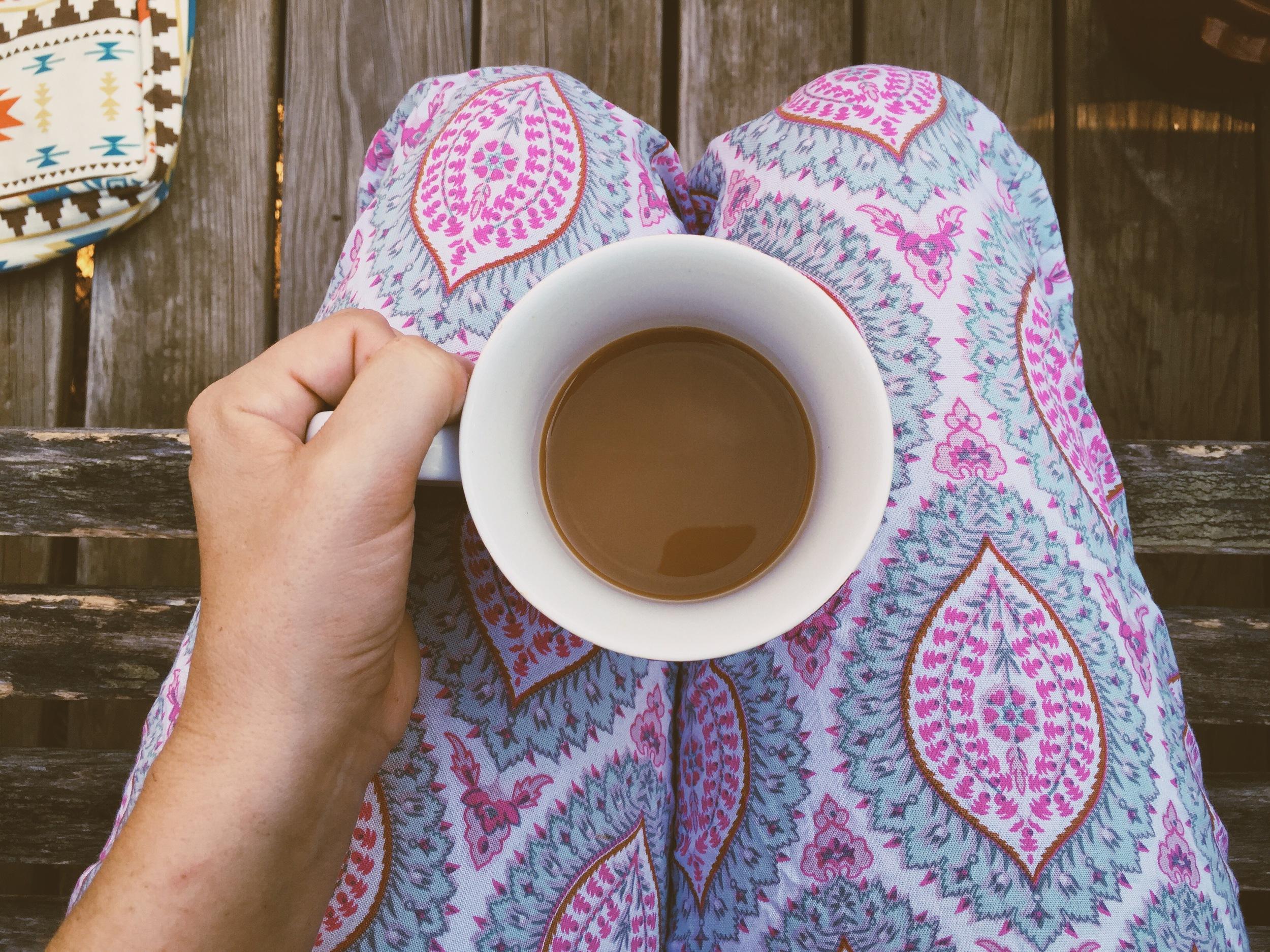 Morning coffee in my  Bahana pants .