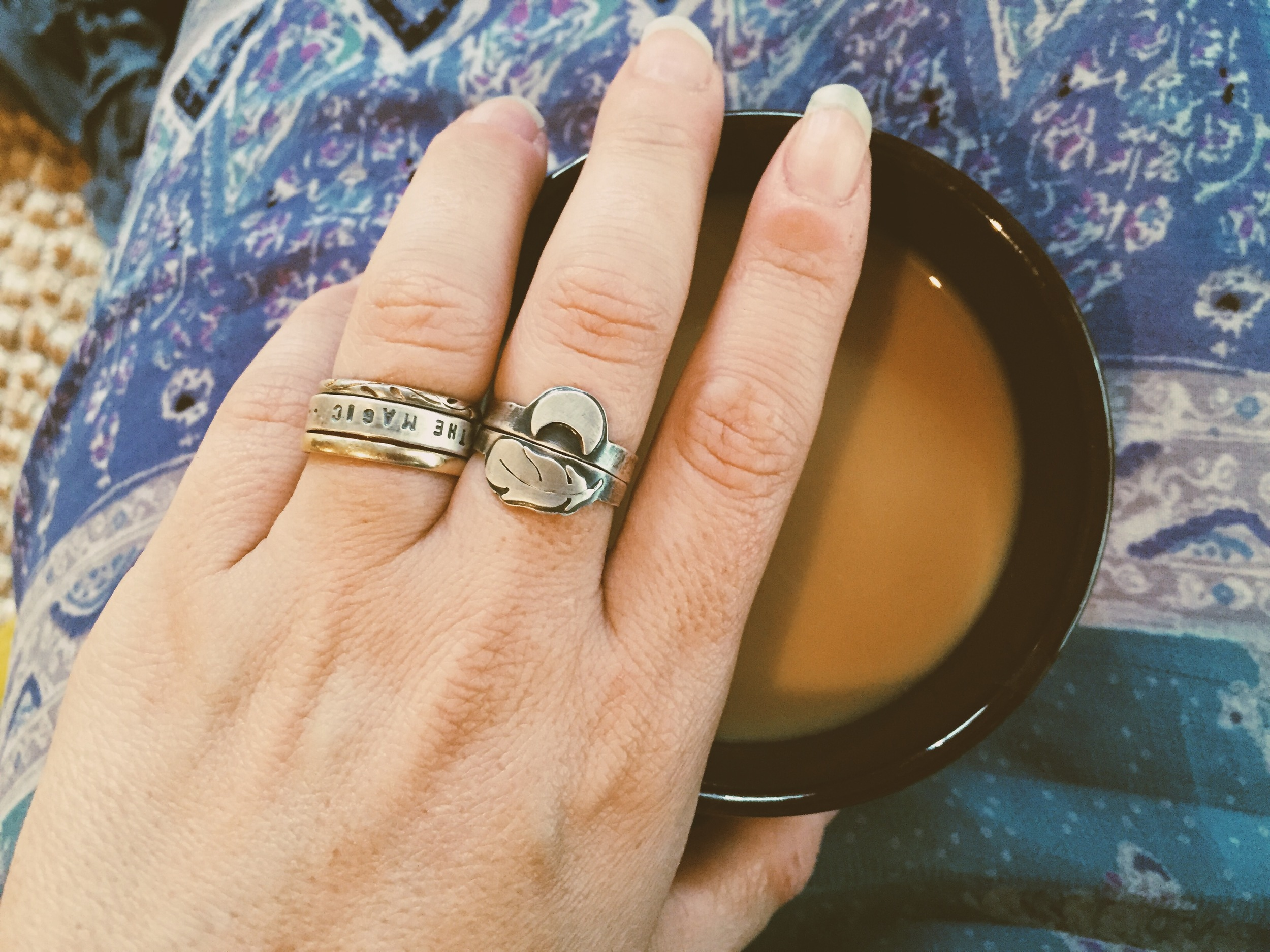 Afternoon coffee wearing my beautiful  Umber Dove  rings.