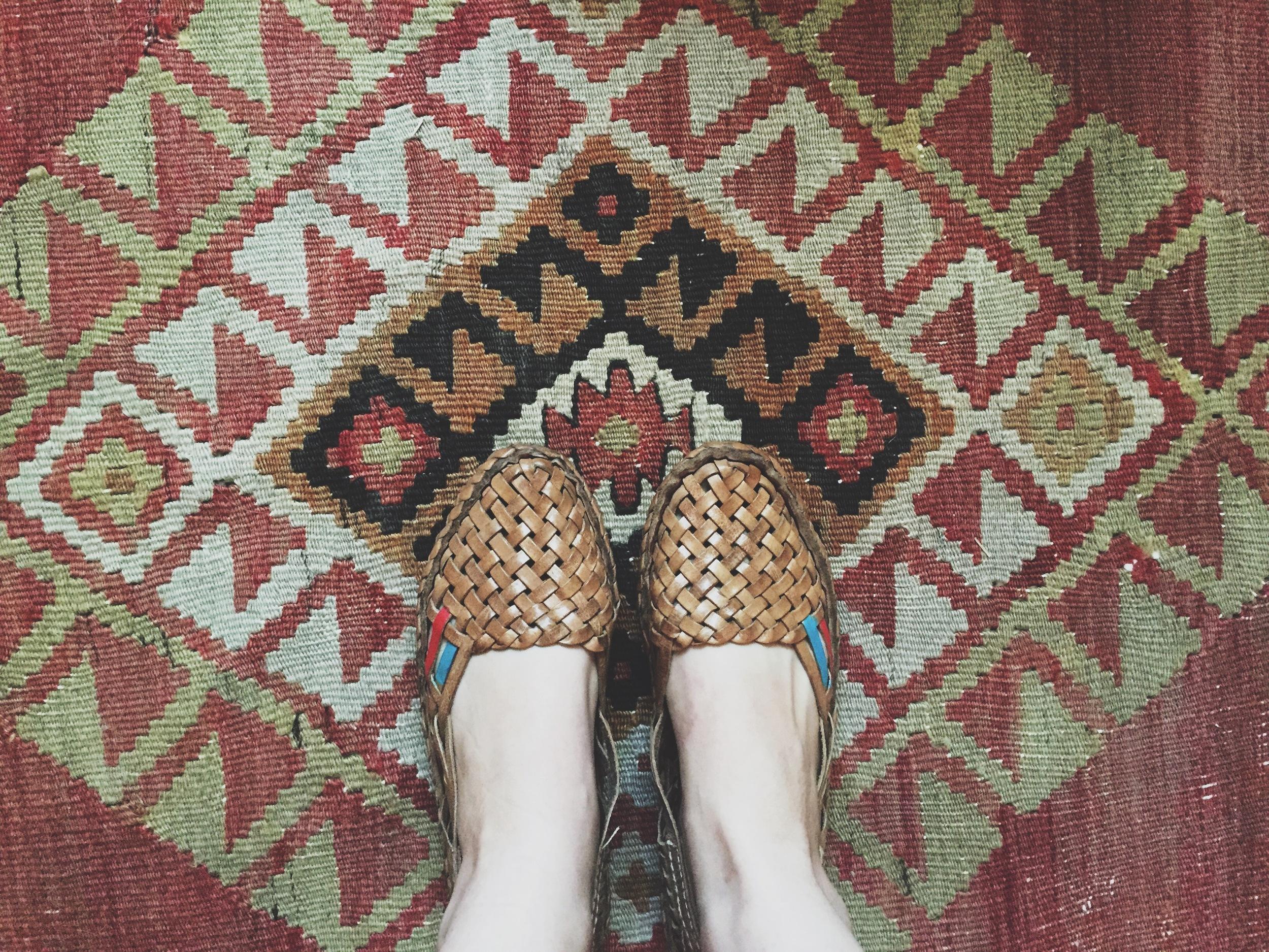 Mohinder shoes  + vintage kilim rug.