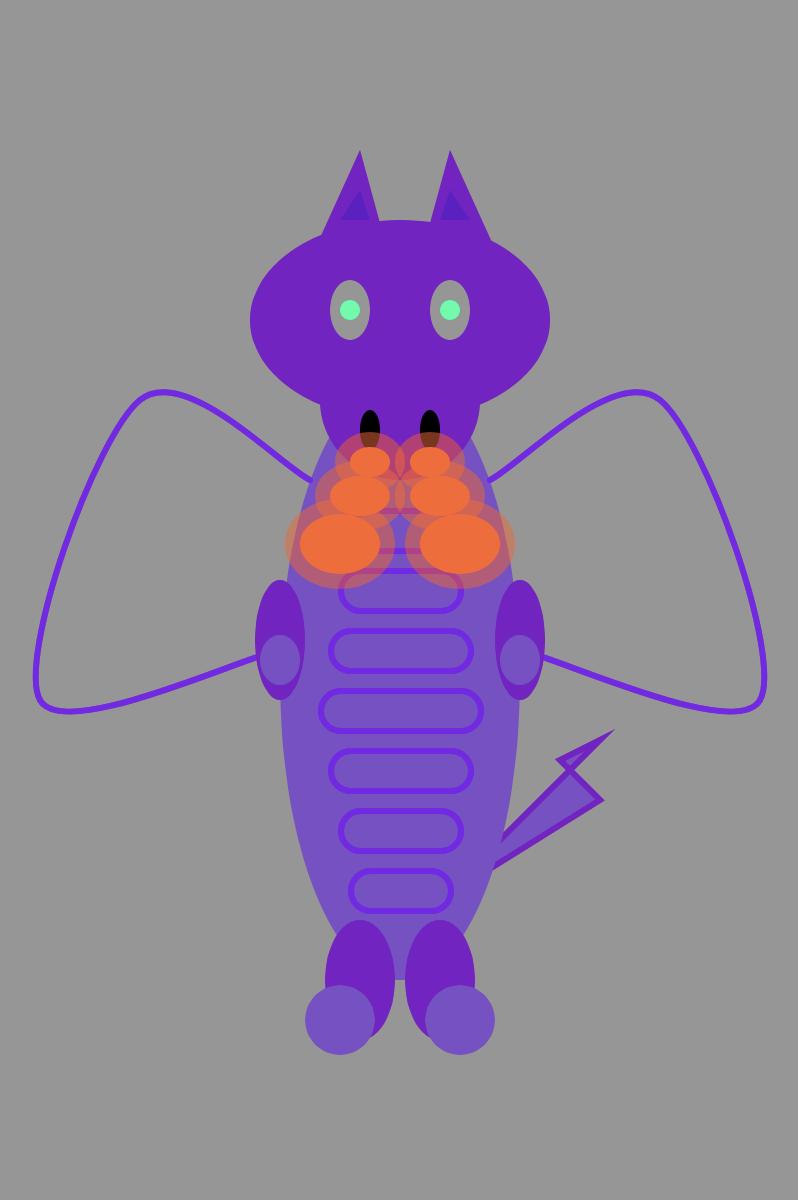 purple dragon - drawn in p5.js