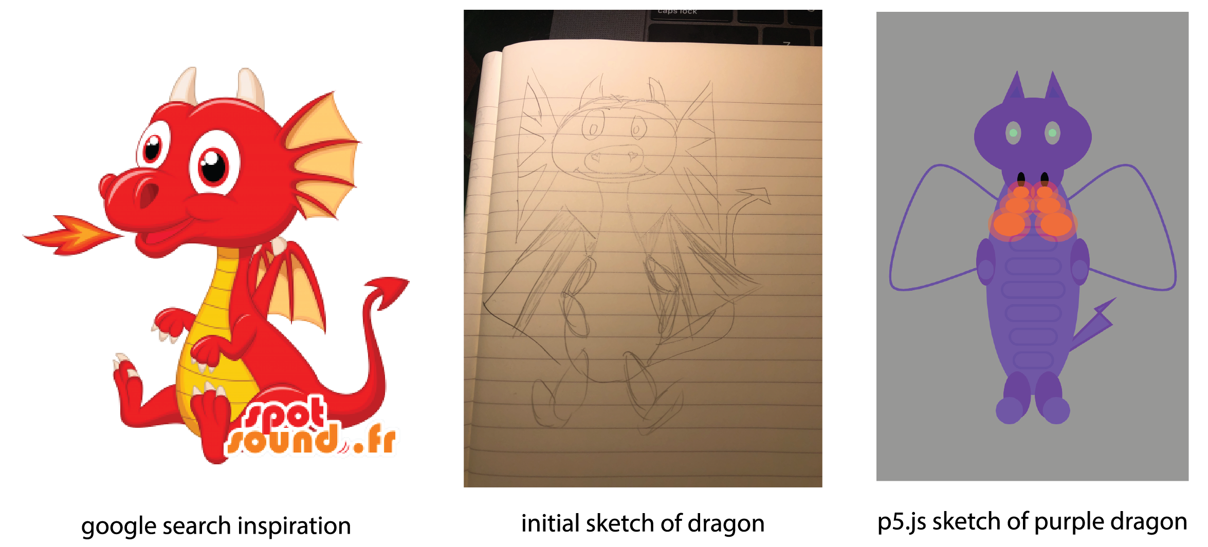 journey of the purple dragon; from inspiration -> sketch ->drawing