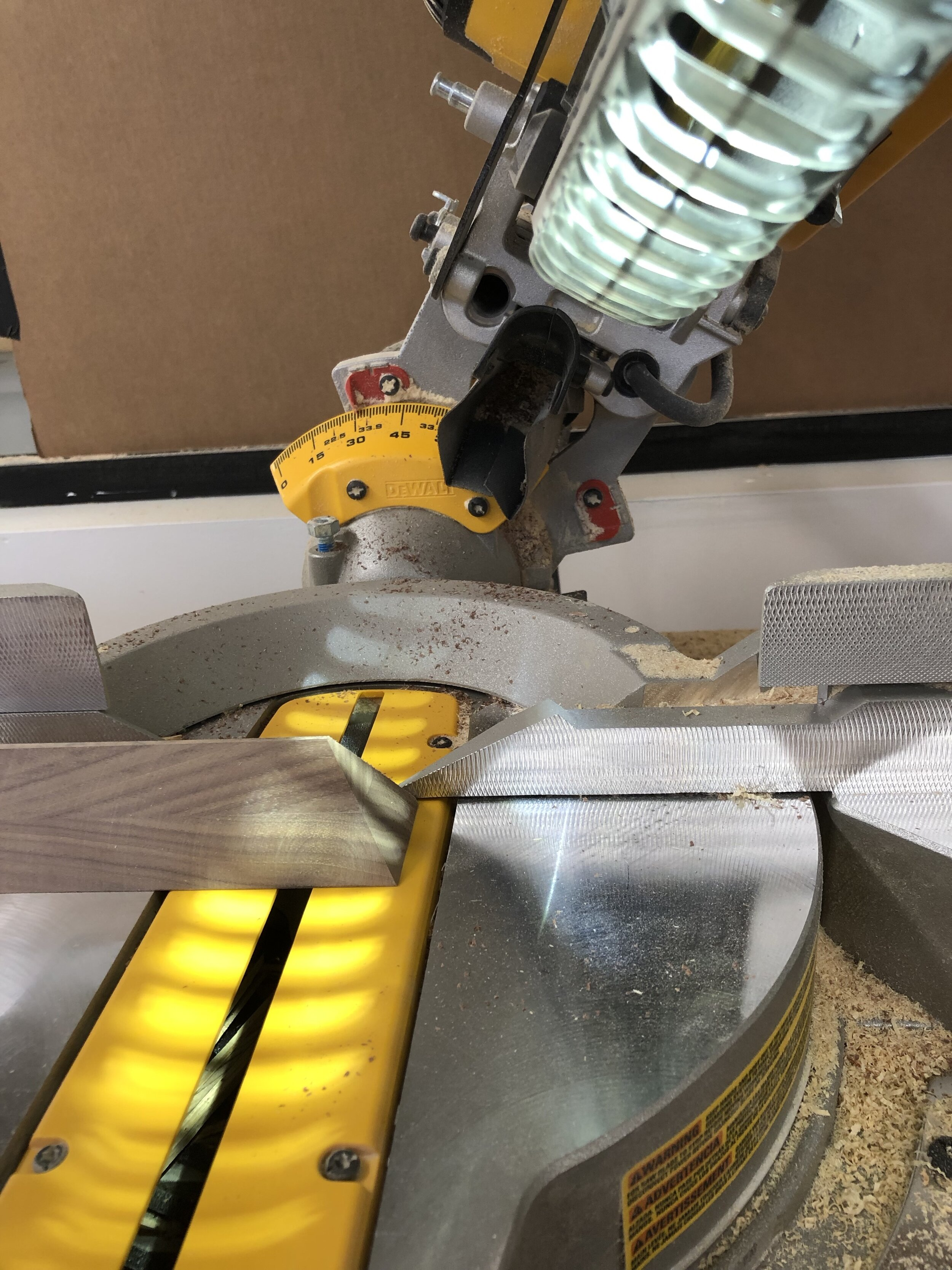 cutting on the miter saw -