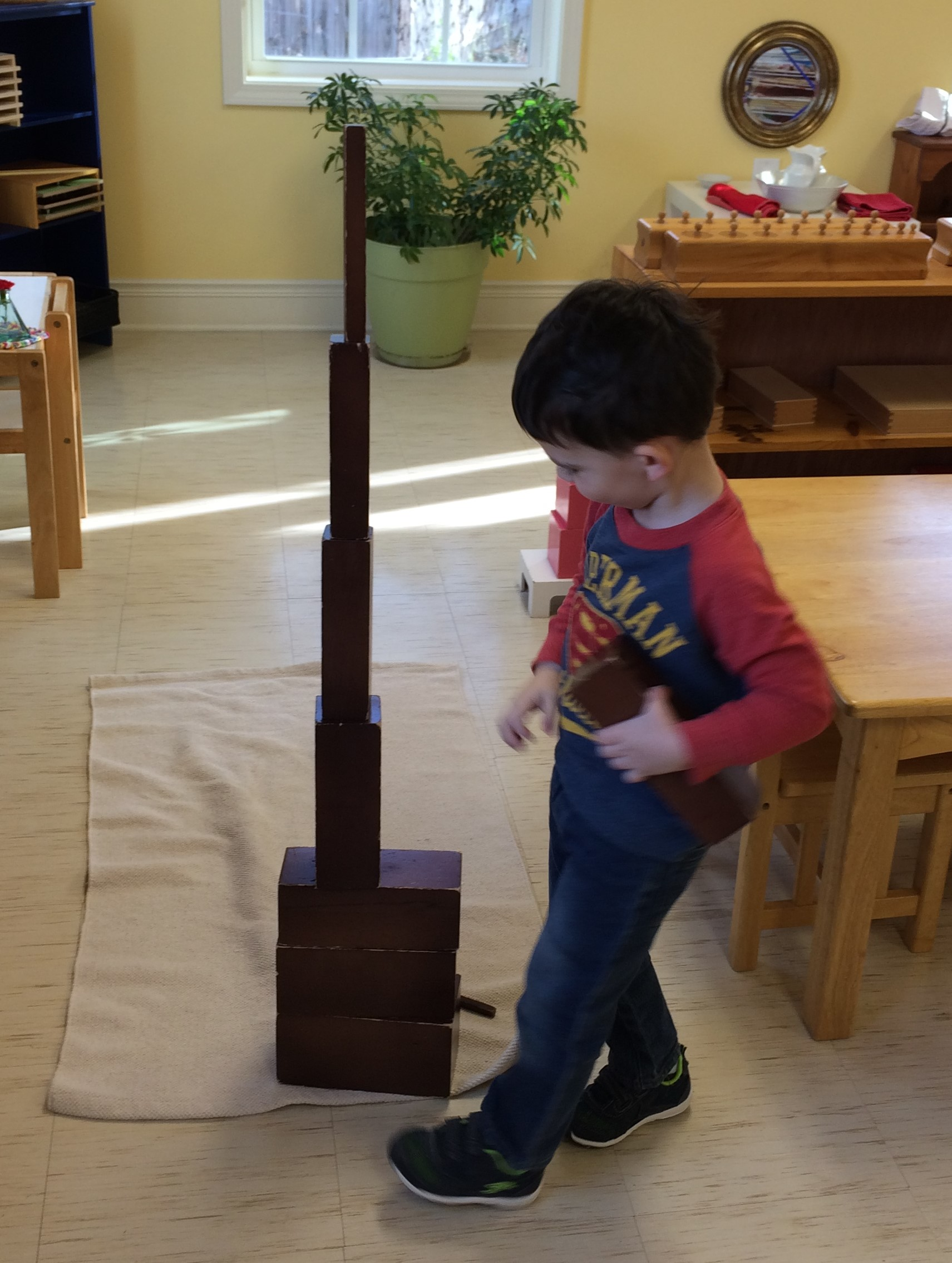 The Brown stairs are part of the Sensorial area of the environment. The first lesson shows the child how to place the rectangular prisms in order based on the breadth of each stair. The child is then left to discover other possibilities of how to place them in order. This child is discovering that they can be built similar to the pink tower.