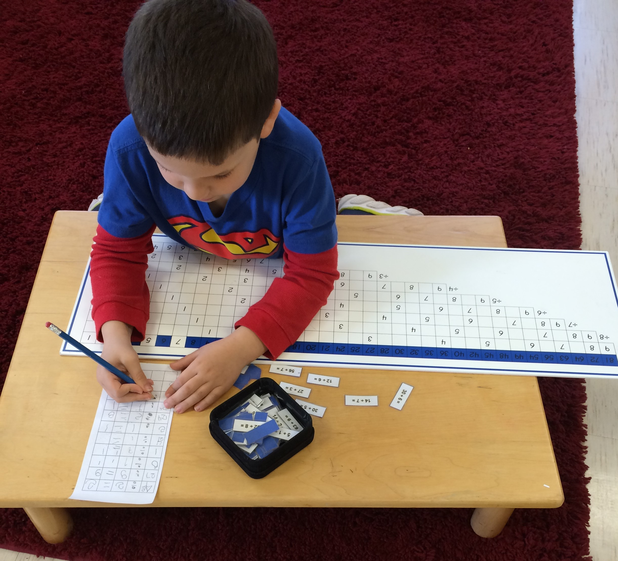The division practice chart gives the child lots of experience learning his division math facts using tickets with equations and finding the answer on the chart. The way the child checks his work is with a control chart of answers.