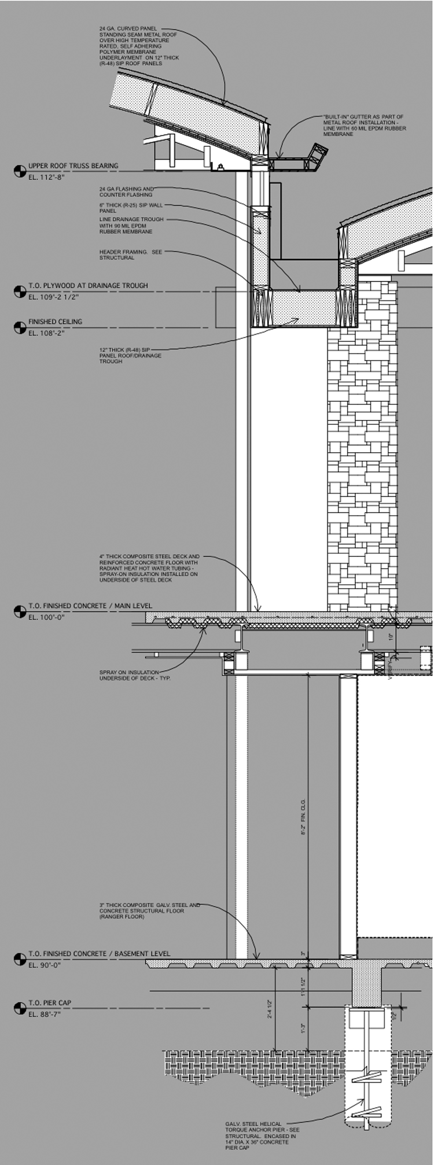 wall section at drainage channel and clerestory window