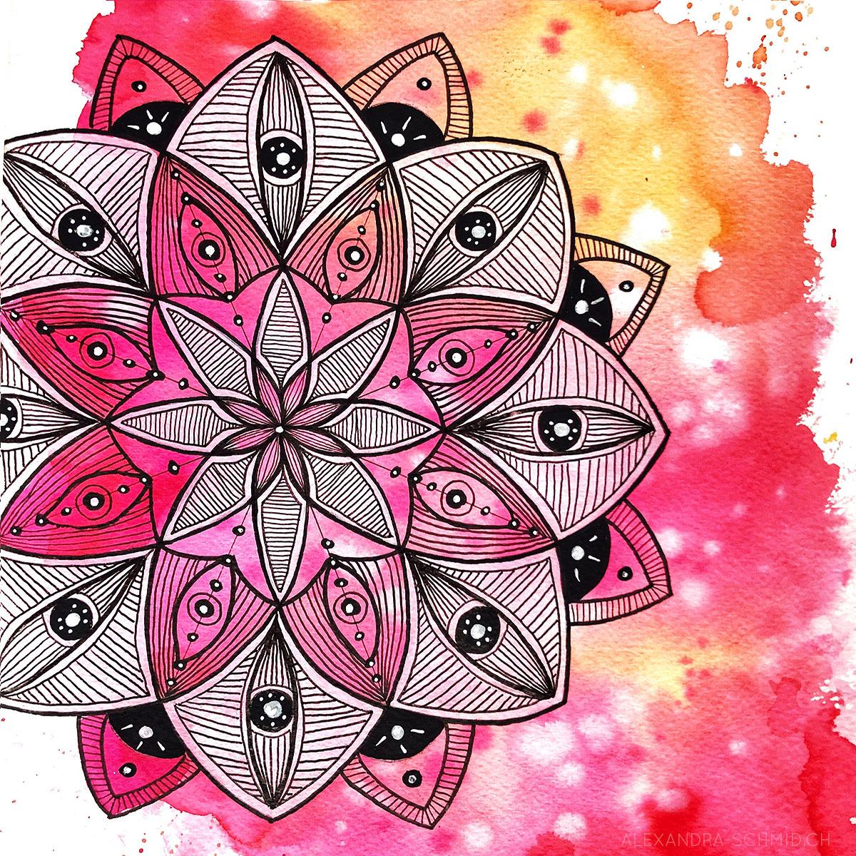 Mandala : flüssige Aquarellfarbe, Acryl, India-Ink und Marker auf Papier