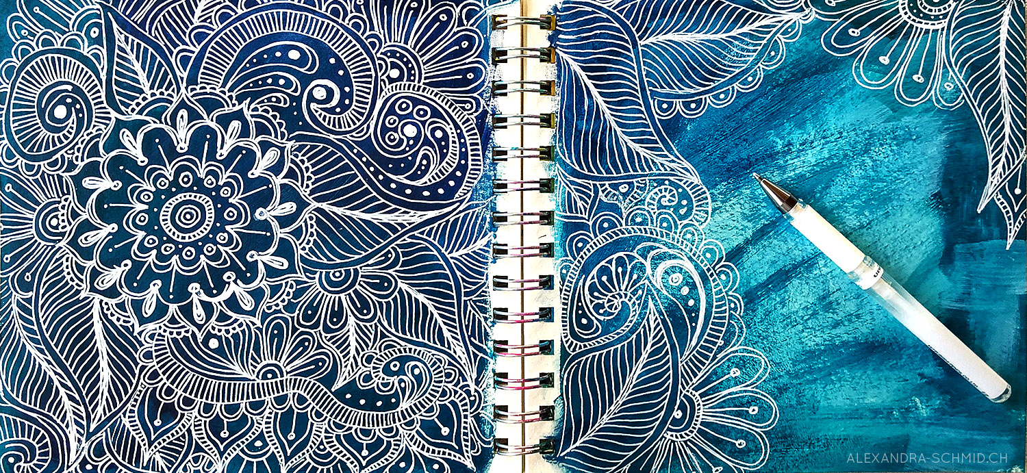 Artjournal: Doodles with white gel-pen on acrylic paint