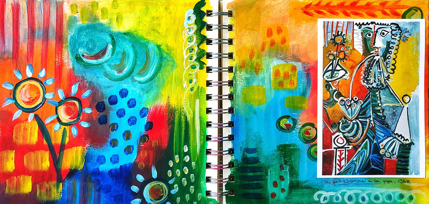 """Inspiriert von """"Le Gentilhomme à la Pipe et Fleurs"""" 1968 (Picasso)"""