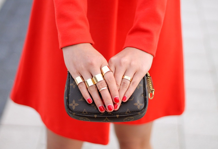 Maison Martin Margiela and Cartier rings, Louis Vuitton bag