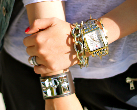 Hermes, David Yurman, Jules Smith bracelets and Michele watch