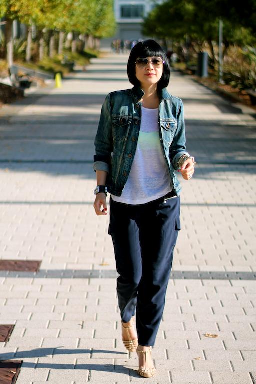 Club Monaco pajama pants and shirt, Madewell jacket, Rayban sunglasses