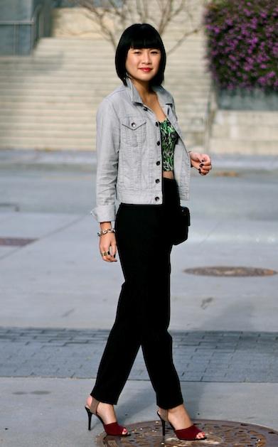 Club Monaco bralette top and denim jacket, Zara pants and shoes, Chanel bag, Ray-Ban sunglasses