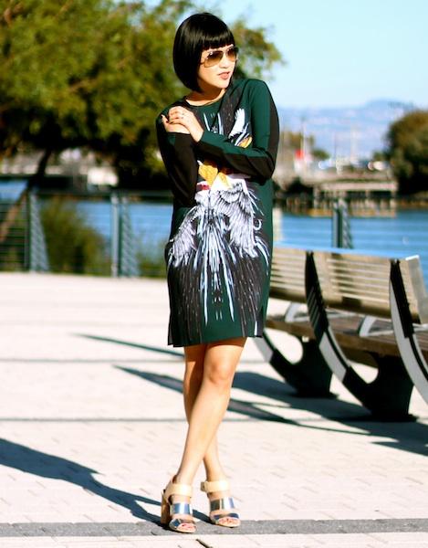 Clover Canyon dress, Sam Edelman shoes, Ray-Ban sunglasses