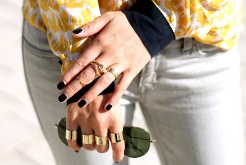 Brandy Pham, Melinda Maria, Anarchy Street, Cartier, and Maison Martin Margiela rings, Ray-Ban sunglasses