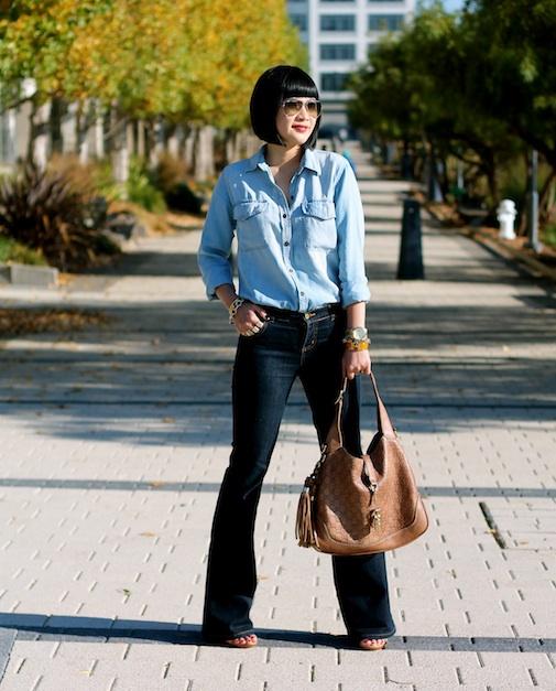 Club Monaco chambray shirt , vintage jeans,  Ray-Ban sunglasses ,  Gucci bag