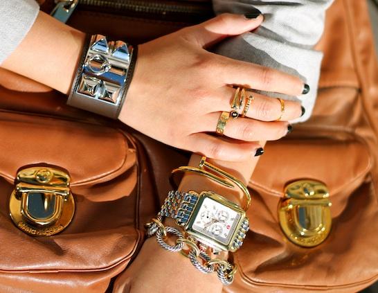Hermes, David Yurman, Anarchy Street bracelets, Melinda Maria, Anarchy Street, Brandy Pham and Cartier rings, Michele watch, Marc Jacobs bag