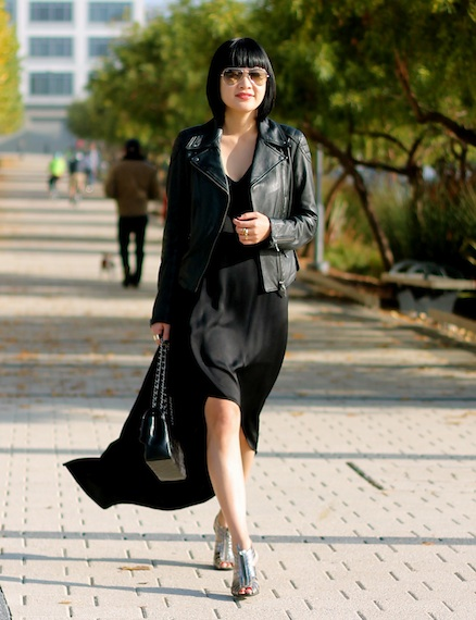 BCBG silk dress, Club Monaco leather jacket, BCBG shoes, Chanel bag, Ray-Ban aviators