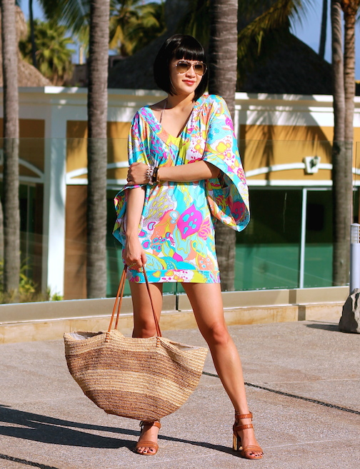 Trina Turk tunic, Burberry bikini, Dolce Vita shoes, Shopbop Basic bag, Ray-Ban sunglasses