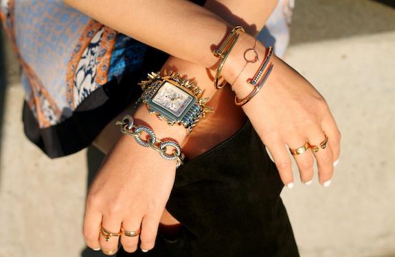 David Yurman ,  Stella and Dot ,  Anarchy Street bracelets ,  Michele watch ,  Cartier ,  Melinda Maria ,  Anarchy Street  rings.