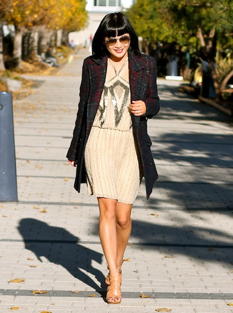 Parker Dress, Zara coat, Pour La Victoire shoes, Ray-Ban sunglasses