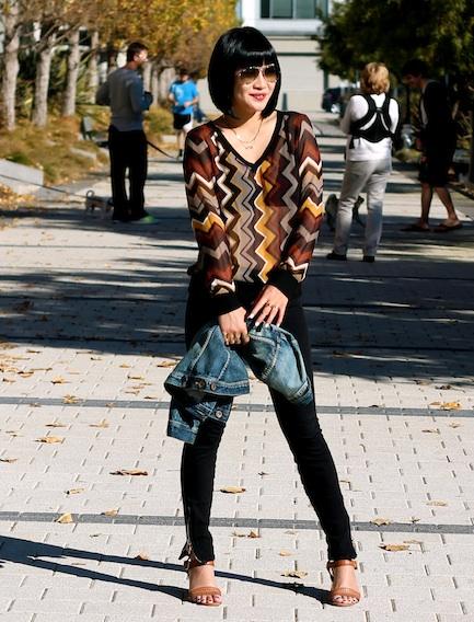 Missoni x Target top, Joe Jeans, Dolce Vita sandals, Madewell denim jacket, Ray-Ban sunglasses