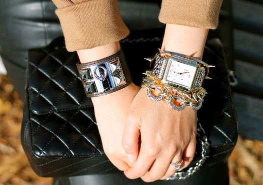 Hermes, David Yurman, Stella and Dot, Jules Smith bracelets, Michele watch