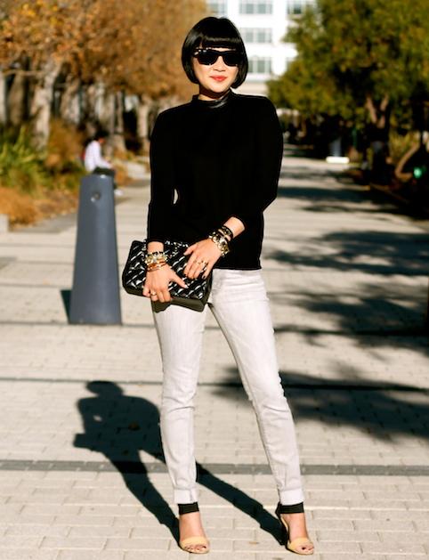 Club Monaco sweater , Gap jeans, Michael Kors heels, Chanel bag,  R  ay-Ban Wayfarer sunglasses