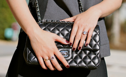 David Yurman and my own rings, Chanel bag