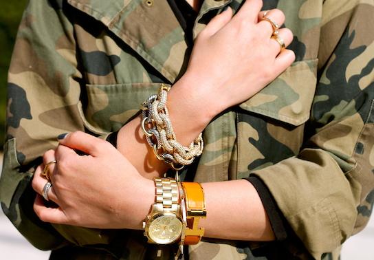 JCrew, David Yurman, Hermes, Jules Smith bracelets, Michael Kors watch, Melinda Maria, Anarchy Street and Cartier rings