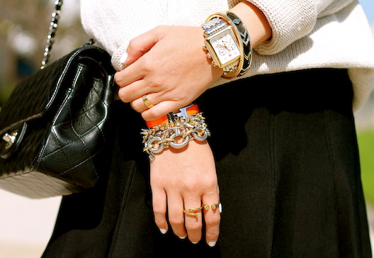 Hermes, Stella and Dot, Davd Yurman, House of Harlow bracelets, Melinda Maria, Anarchy Street and Cartier rings, Michele watch