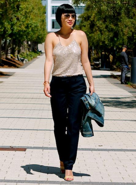 Club Monaco top and pants, Michael Kors heels, Ray-Ban sunglasses, Madewell denim jacket