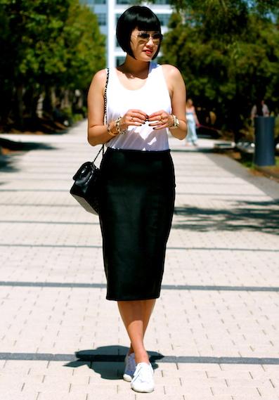 Club Monaco tank top, Zara faux leather skirt, Superga sneakers, Chanel bag, Ray-Ban sunglasses