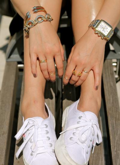 Vita Fede, David Yurman, bracelets, Cartier, Vita Fede and Baublebar rings, Michele watch