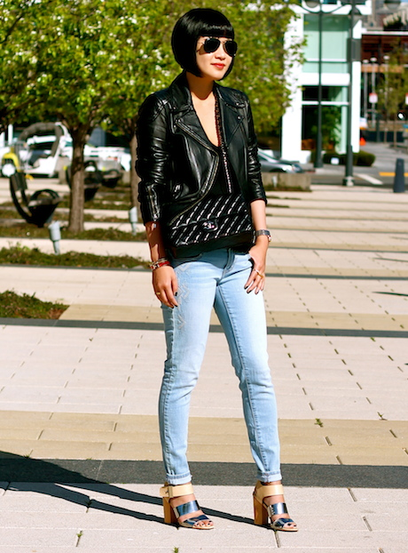 Club Monaco leather jacket, Zara tank, Gap jeans, Sam Edelman heels, Chanel bag, Ray-Ban sunglasses