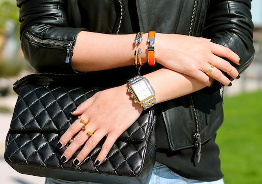 Vita Fede and Hermes bracelets, Cartier, Vita Fede and Melinda Maria rings, Michele watches