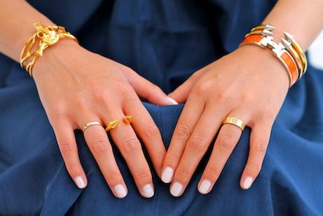 Hermes,  Svelte Metals , and  Vita Fede  bracelets, Cartier and  Vita Fede  rings