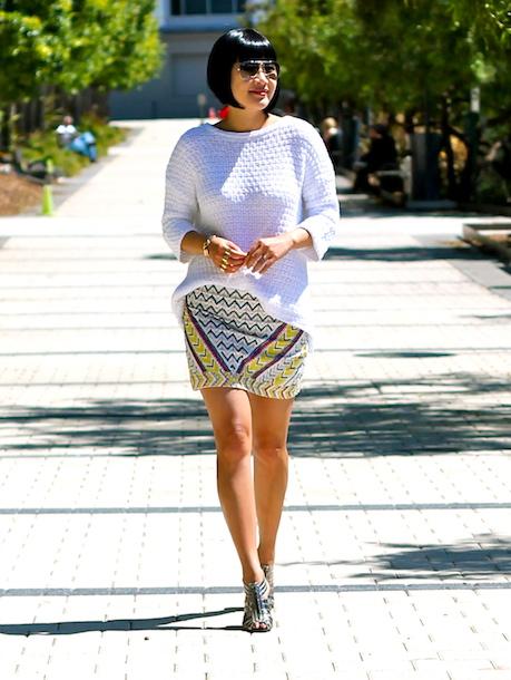 Zara sweater and skirt, BCBG shoes, Ray-Ban sunglasses