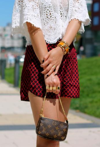 Louis Vuitton bag, Maison Martin Margiela and Cartier rings, Hermes, Vita Fede and Jules Smith bracelets