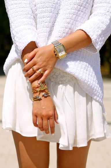 Svelte Metals  and  Vita Fede  bracelets, Cartier, Vita Fede,  Brandy Pham  and  Baublebar  rings,  Michele  watch