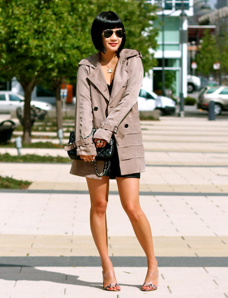 Club Monaco trench coat, Club Monaco faux leather shorts, Zara tank, Guess shoes, Chanel bag
