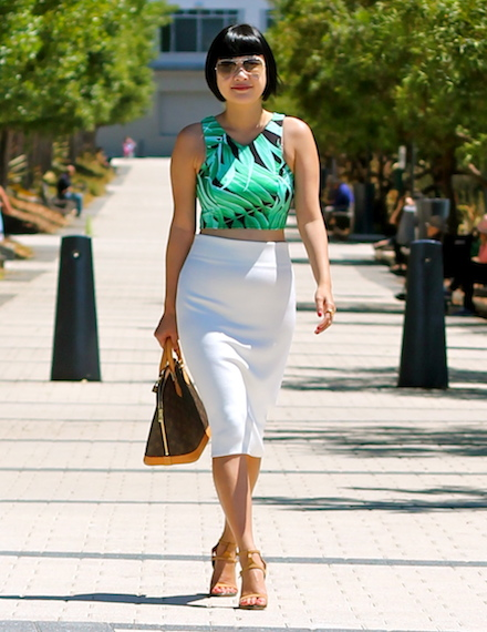 Topshop crop top , Zara white skirt,  Chloe sandals , Louis Vuitton bag,  Ray-Ban sunglasses