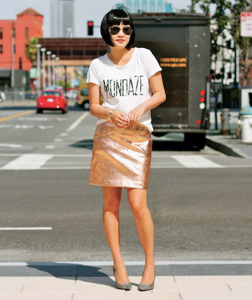 Club Monaco tee and skirt  (similar) ,  Giuseppe Zanotti heels c/o DSW ,  Ray-Ban sunglasses