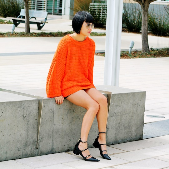 Zara sweater and shoes, Club Monaco shorts, Ray-Ban sunglasses