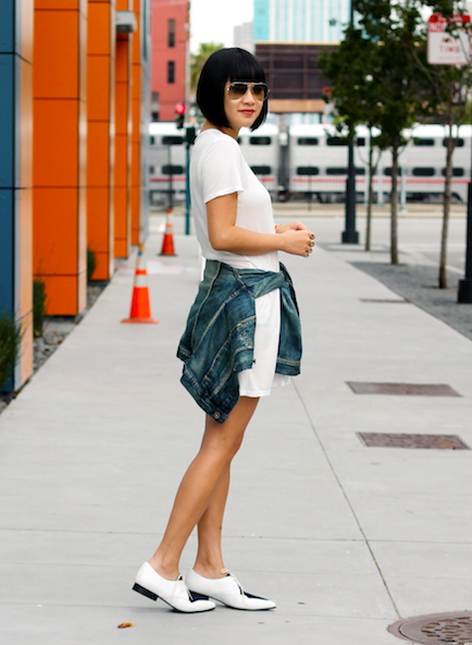 Reformation dress ,  Madewell denim jacket,   Antipodium x Asos shoes ,  Ray-Ban sunglasses