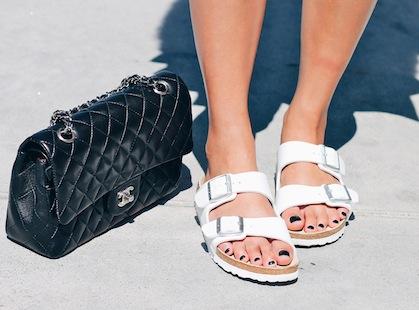 Chanel bag, Birkenstock sandals